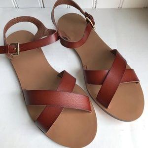 NEW J. Crew Criss Cross faux Leather Sandals